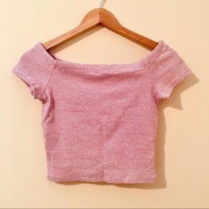 Zara | Striped Off Shoulder Crop Top